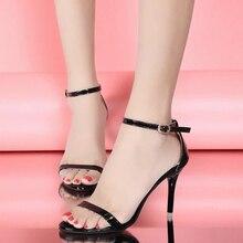 Sandalia Feminina женские летние сандалии высокие каблуки насосы лодыжки ремень свадебное партия обуви белый черный золото серебро бесплатная доставка