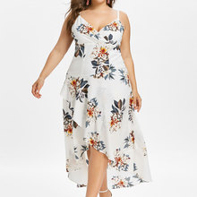 eb0f142eefe9 Gamiss Women Summer Plus Size 5XLPlus Size Tropical Floral Overlap Flowing  Dress Spaghetti Strap Sleeveless A