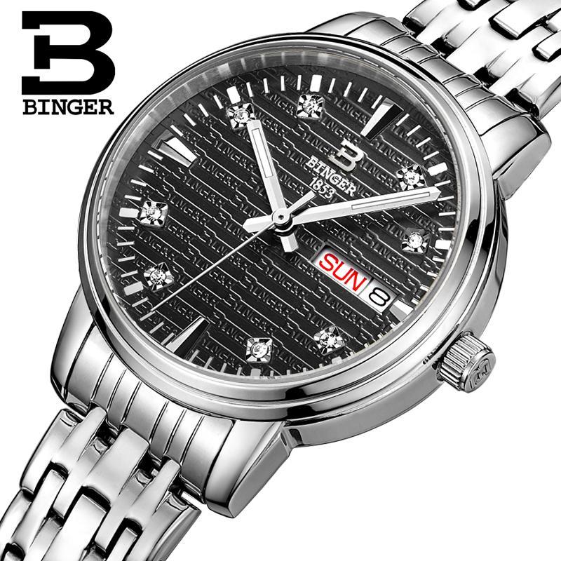 Switzerland Binger Women s watches fashion luxury clock ultrathin quartz glowwatch full stainless steel Wristwatches B3036G