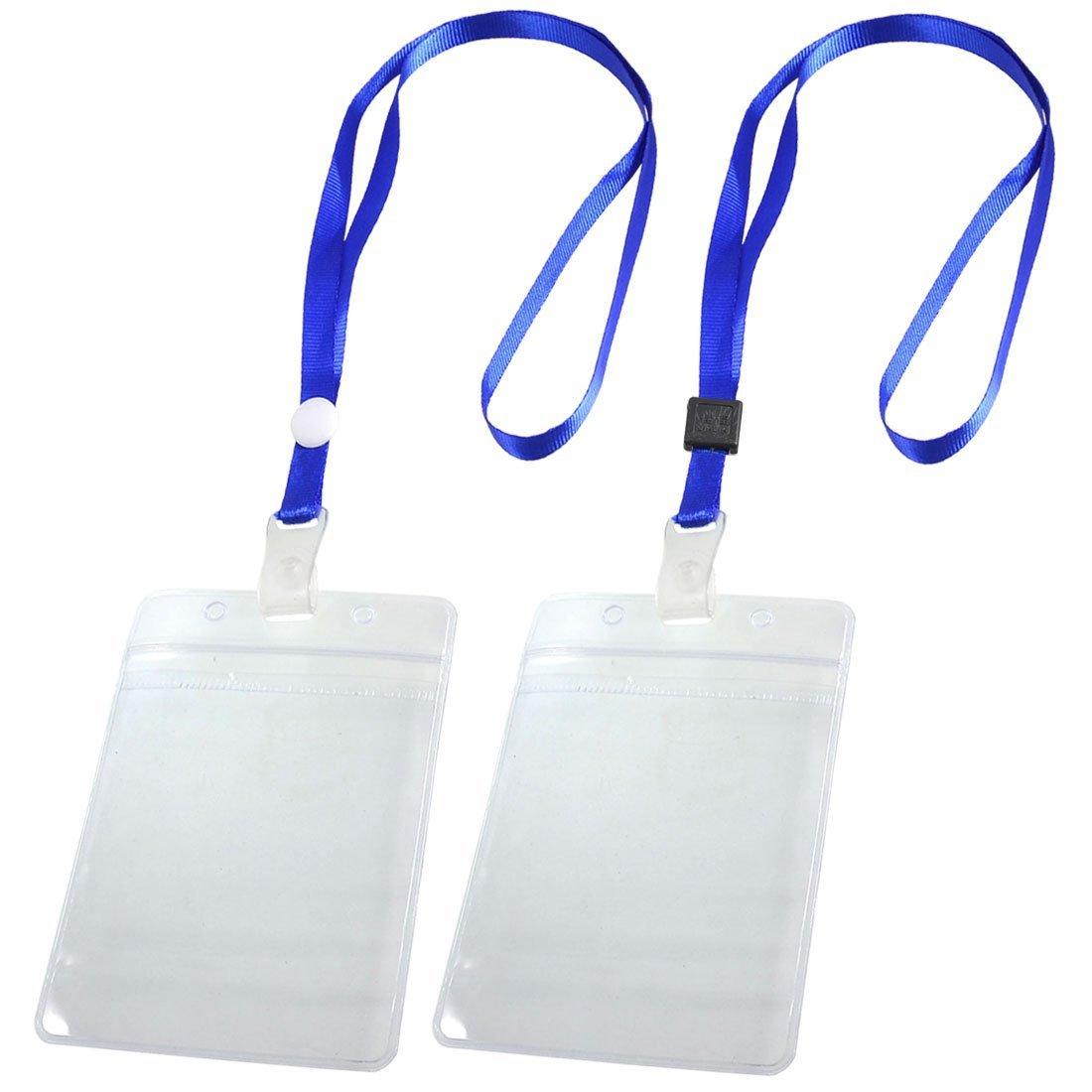 SOSW-2 Pcs ID Card Badge Holder Adjustable Neck Strap Lanyard Blue Clear