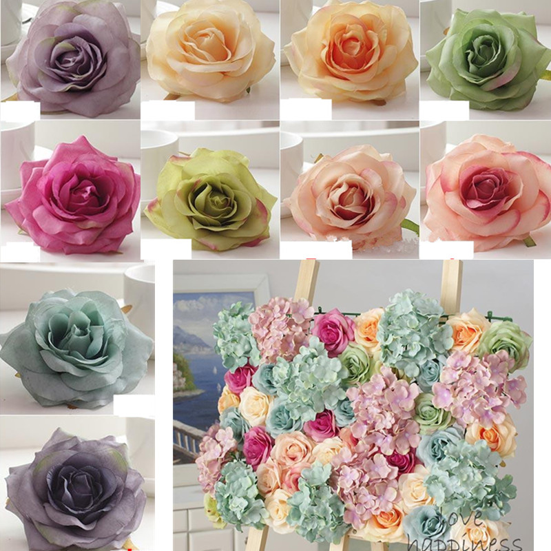 DIY artificial rose flower heads DIY Road led wedding flower Bouquet hotel backdrop decor silk decorative