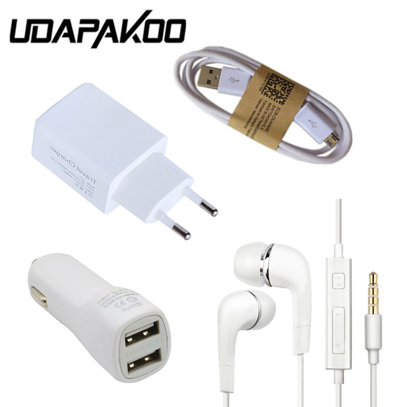 <font><b>5V</b></font> <font><b>2A</b></font> EU US Plug travel <font><b>Wall</b></font> <font><b>Charger</b></font> + Earphone + Micro USB Charging Cable + 3.1A Car <font><b>charger</b></font> for Samsung Galaxy S4 S6 S7 Edge