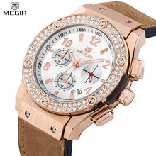 MEGIR Casual Mens Watches Top Brand Luxury Dress Rose Gold Diamond Crystal Watch Chronograph Male Quartz-watch Relogio Masculino