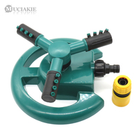 MUCIAKIE 1PC Garden 360 Degrees Rotating Sprinkler Automatic 3 Nozzles Three Arms Garden Watering for Lawn Grass Hose Connecter|Garden Sprinklers| |  -