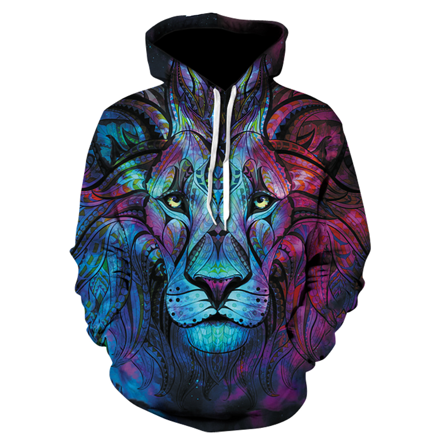 best website 49aca 8c309 US $10.07 44% OFF New Fashion Autumn Winter Men/women Thin Coloured lion  Sweatshirts With Hat 3d Print Trees Hooded Hoodies Tops Pullovers-in  Hoodies ...
