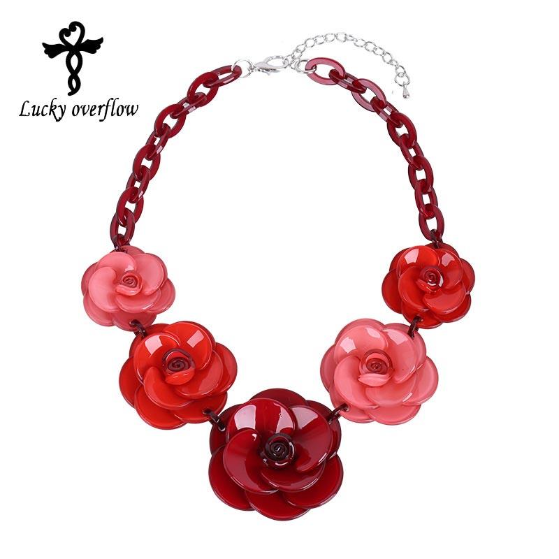 Brand Design Acrylic Necklace Rose Flowe