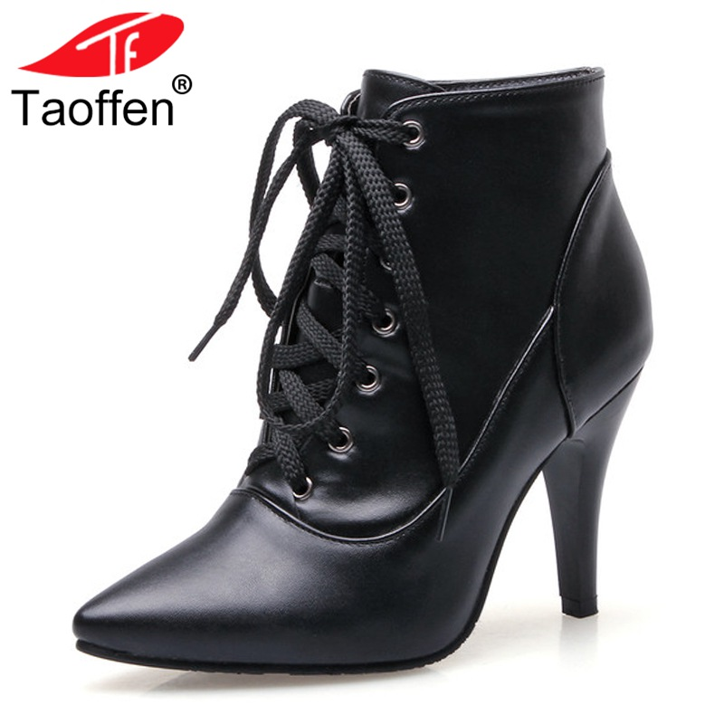 TAOFFEN Plus Size 32-48 Shoes Women High Heel Lace-up Boots Pointed Toe Shoes Office Lady Botas Ankle Knee Short Boots Footwear hollow pointed lady rough heel short boots