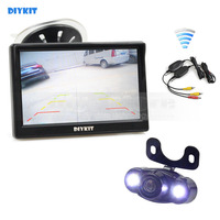 DIYKIT Wireless 5 Inch LCD Display Car Monitor Rear View Monitor LED Night Vision Car Camera