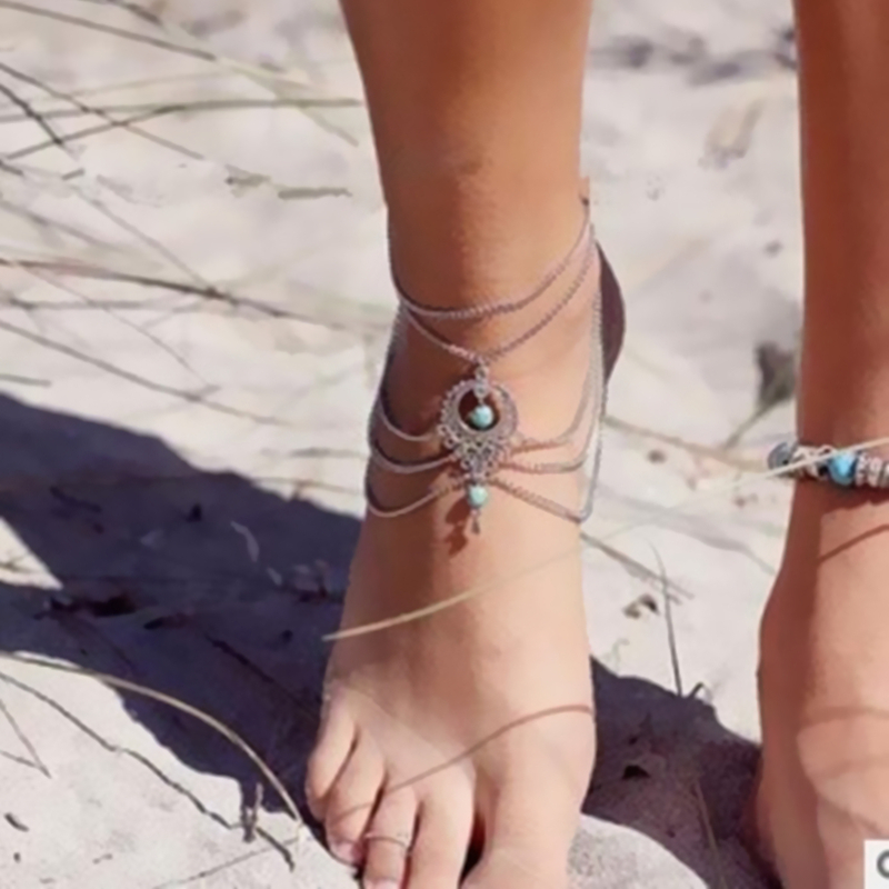 2020 Hot Sales New crystal Beads Anklets Tassel Foot Chain Anklet Bracelet Body Jewelry Anklets Women wholesale