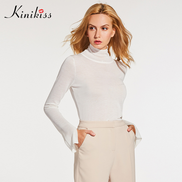 Kinikiss Women White Turtleneck Sweater Knitting Long Sleeve Solid Knitted  Tops Office Lady Fashion Elegant Thin e8ba92682