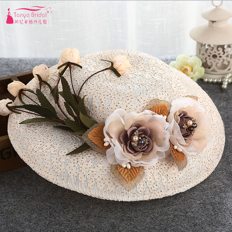 Champagne Bridal Hats Vintage New wholesale wedding hats and fascinators ZH007