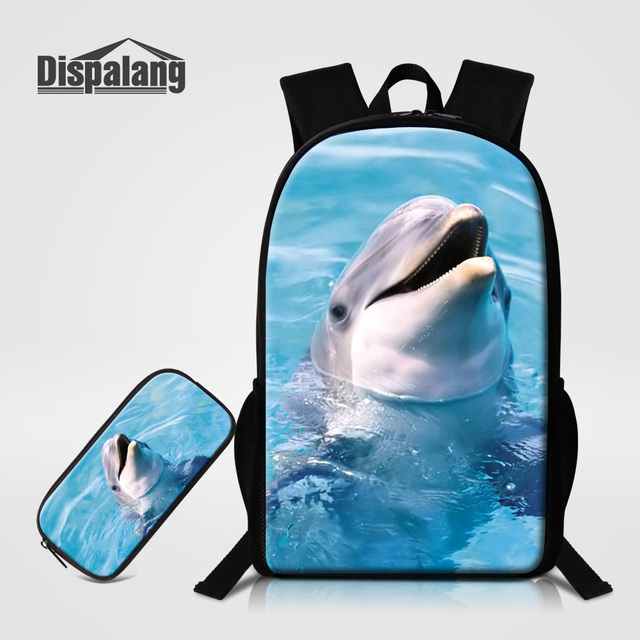 Dispalang Fashion 2 PCS Set Children School Backpack Pencil Case 3D Dolphin  Animal Printing BookBag For Girls Boys Kids Mochilas b06988a4a3ad8