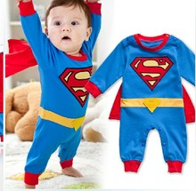 2016  Baby Boys Cartoon Rompers Toddler Cosplay Clothes Set Superman Supergirl Batman Jumpsuit + Hatband Roupas Infantis Menino