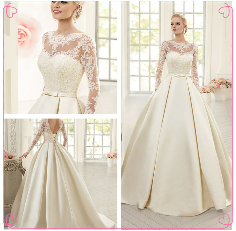 Simple Wedding Dress with Lace Sleeves – fashion dresses