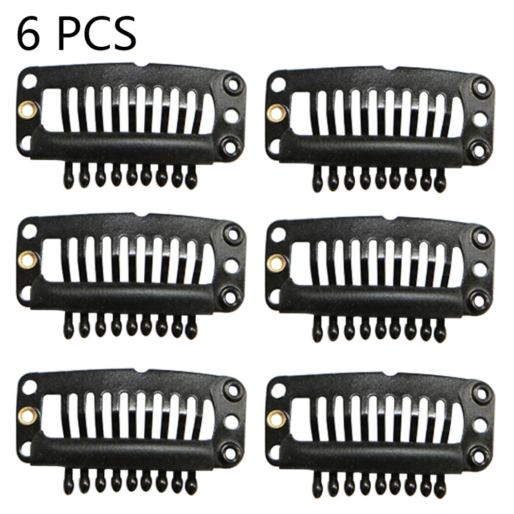 Invisible Fixation Pins 6pcs/pack 9 Teeth U Shape Metal Black Hair Snap Comb Clip For Hair Extensions Hairpiece Weft Wig Clips