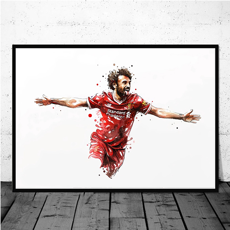 Mohamed Salah Liverpool Football Star Poster Original Watercolor Painting Wall Art Home Decor Wall Decor Canvas Print