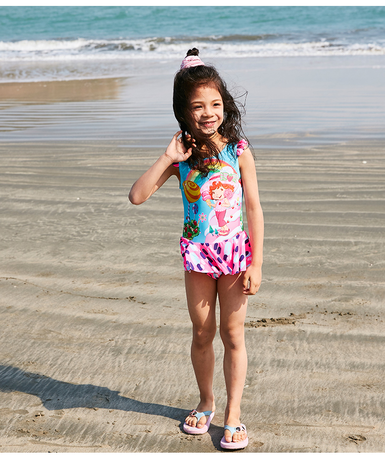 d9147c99ad969 2018 Newest girls one piece swimwear children summer sports surfing suit  girl printed swimsuit skirt cute kids pink bathing suit
