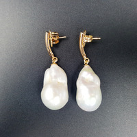 Fashion Women Jewelry Big AA Baroque Pearl 925 Sterling Silver Gold Plated Drop Earrings