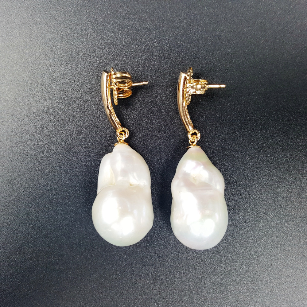 LiiJi Unique Fashion Women Jewelry Big AA+ Baroque Pearl 925 Sterling Silver Drop Earrings