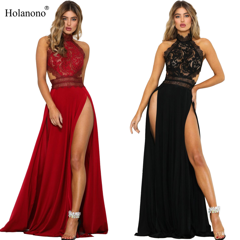 Holanono Women's <font><b>Maxi</b></font> Gown <font><b>Dress</b></font> with Crochet Lace Halter <font><b>High</b></font> <font><b>Slit</b></font> Sequins Long Beautiful Slip <font><b>Dress</b></font> for Dinner Party image