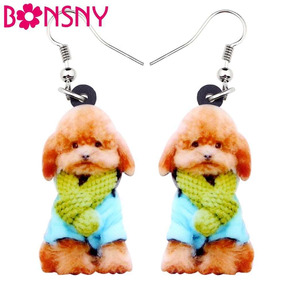 Bonsny declaración acrílico dulce bufanda caniche cachorro perro pendientes grandes largos cuelgan gota joyería de moda para mujeres, niñas, damas adolescentes