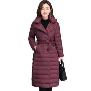 Image 2 - 2020 skręcić w dół kołnierz kurtka zimowa kobiety wyściełane piersi przyciski grube panie Casual długa Parka znosić kobiet jednokolorowy ciepły płaszcz