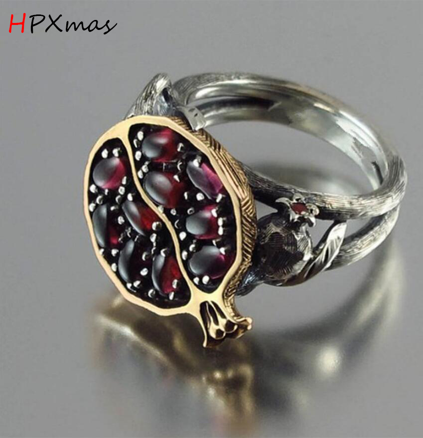 HPXmas Luxury Antique Vintage Red Garnet Pomegranate Cirrus Stone Rings Wedding Party Women Jewelry Gift A106 in Rings from Jewelry Accessories