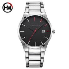 오리지널 시계 남성 방수 아날로그 시계 실버 메탈 밴드 아날로그 쿼츠 시계 블랙 페이스 montre homme hodinky ceasuri saat