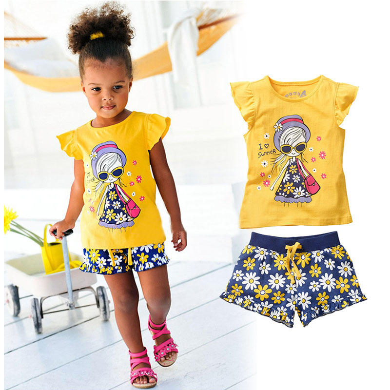 Girls Summer Casual Clothes Set Children Short Sleeve Cartoon T-shirt + Short Pants Sport Suits 2017 Girl Clothing Sets for Kids