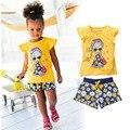 Meninas de Verão de Roupas Casuais Set Crianças Dos Desenhos Animados Manga Curta T-shirt + curta Calças dos Ternos Do Esporte Conjuntos de Roupas Menina 2017 para crianças