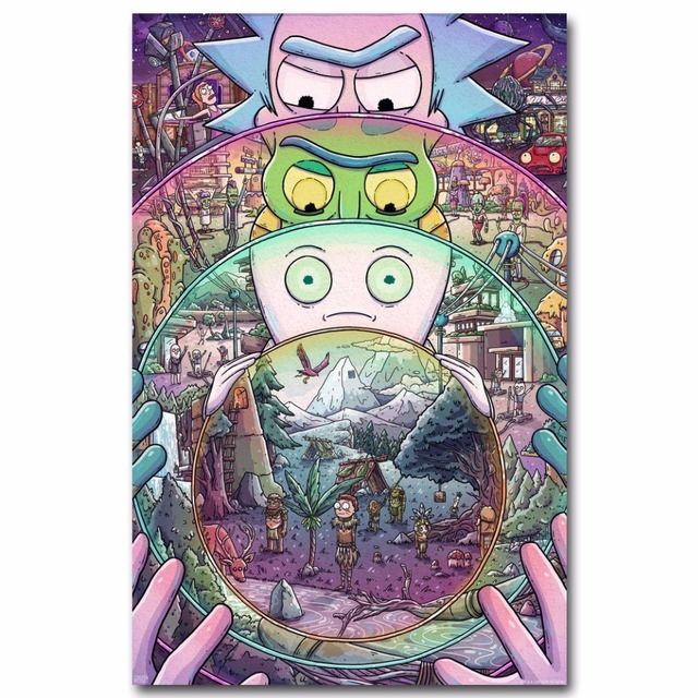 Rick & Morty Cartoon Pop 14×21 24×36 Inches Silk Art Poster Top Fabric Print Home Wall Decor