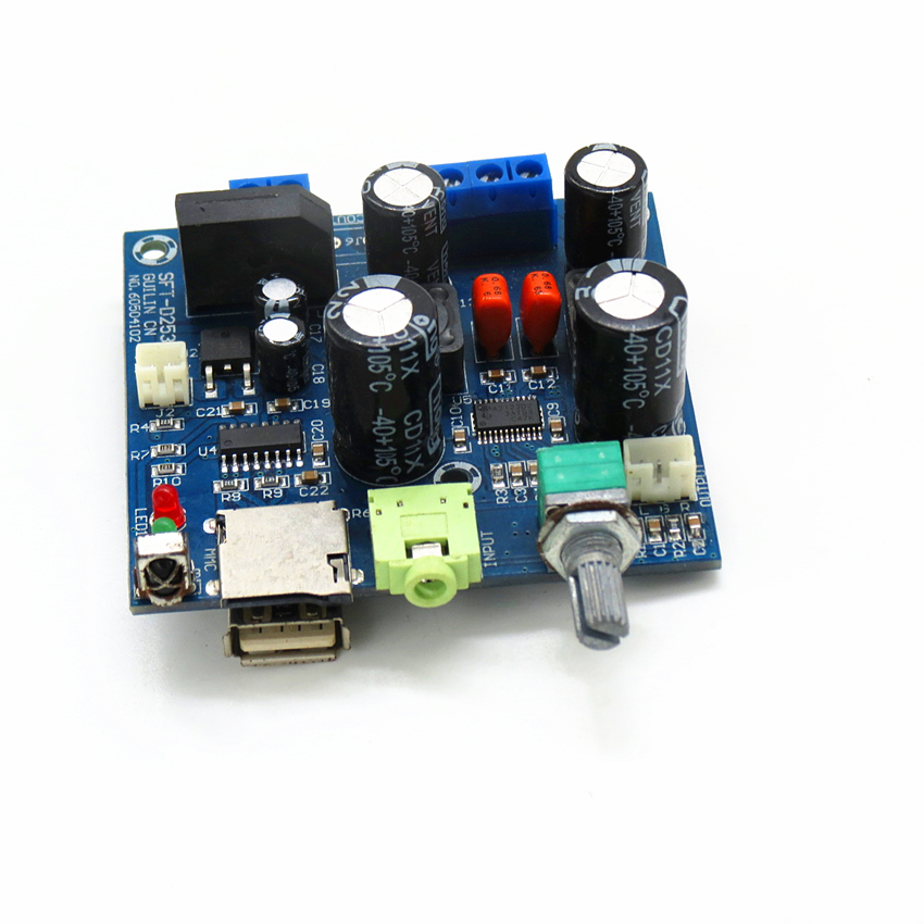 Multi-function TPA3123 class D digital power amplifier board, nondestructive decoder support play WAV MP3 player