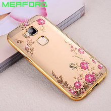 "Capa For Huawei G8 GX8 Case Transparent Soft TPU Plating Case Flower Bling Rhinestones Cover For Huawei GX8 RIO L01 L02 5.5""(China)"