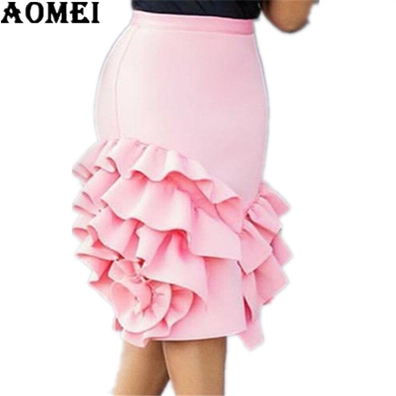 Women Pencil Skirt Pink Ruffle High Waist Slim Female Package Hip Lolita Jupes Bodycon Lady Falads Officewear Elegant Femme 2020