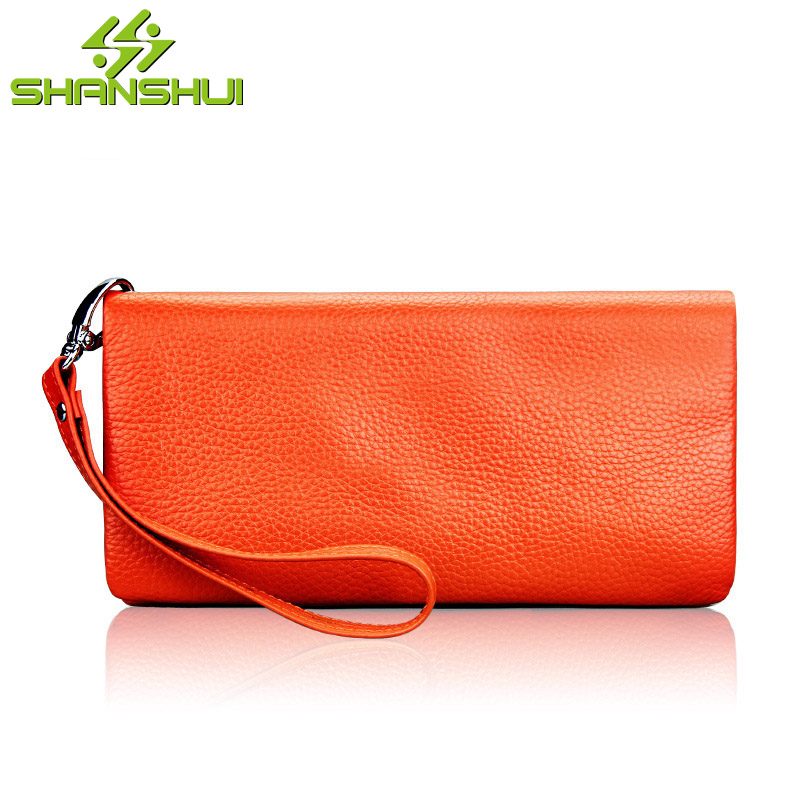 2017 Lady Genuine Leather Candy Color Long Woman Wallet Female Zipper 12 Card Slots Credit Card