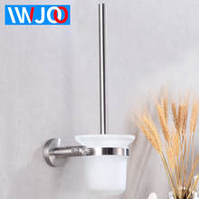 Toilet Brush Holder Stainless Steel Wall Mounted Creative Glass Cup Holder Modern Bathroom Hardware Cleaning Brush Holder Set chrome wc toilet brush holder modern 304 stainless steel and copper wall mounted cleaning hanging decor bathroom accessories