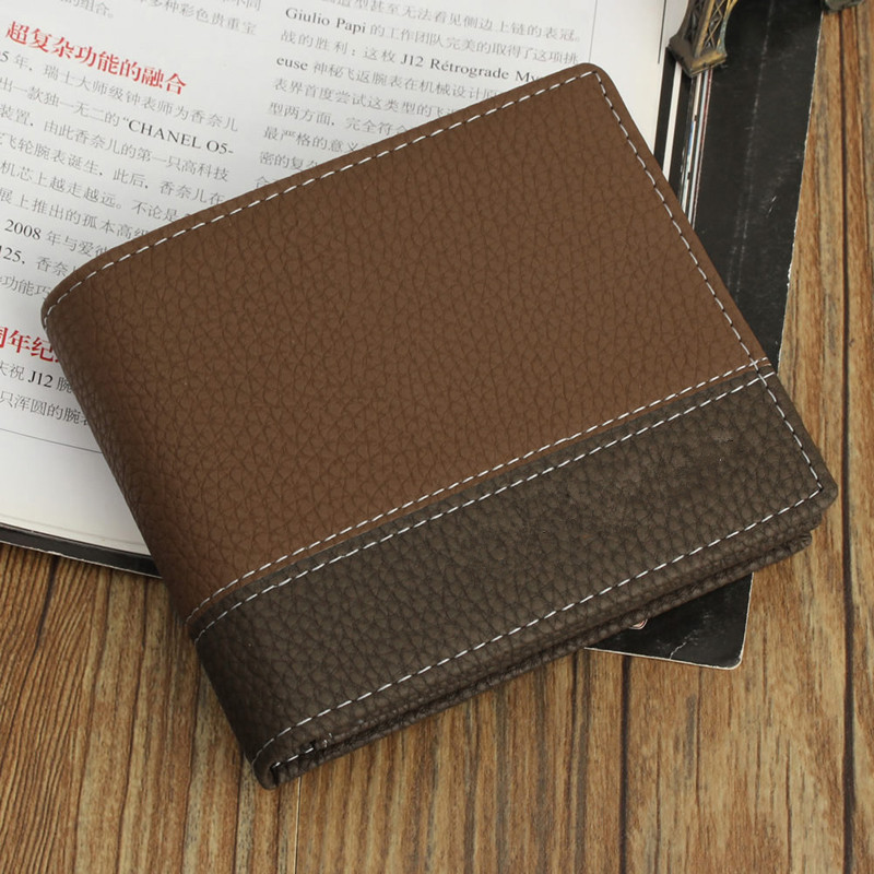 4 Colors Men Vintage Fashion Faux Leather Patchwork Short  Bifold Wallet ID Credit Card Holder Billfold Purse Clutch W1696