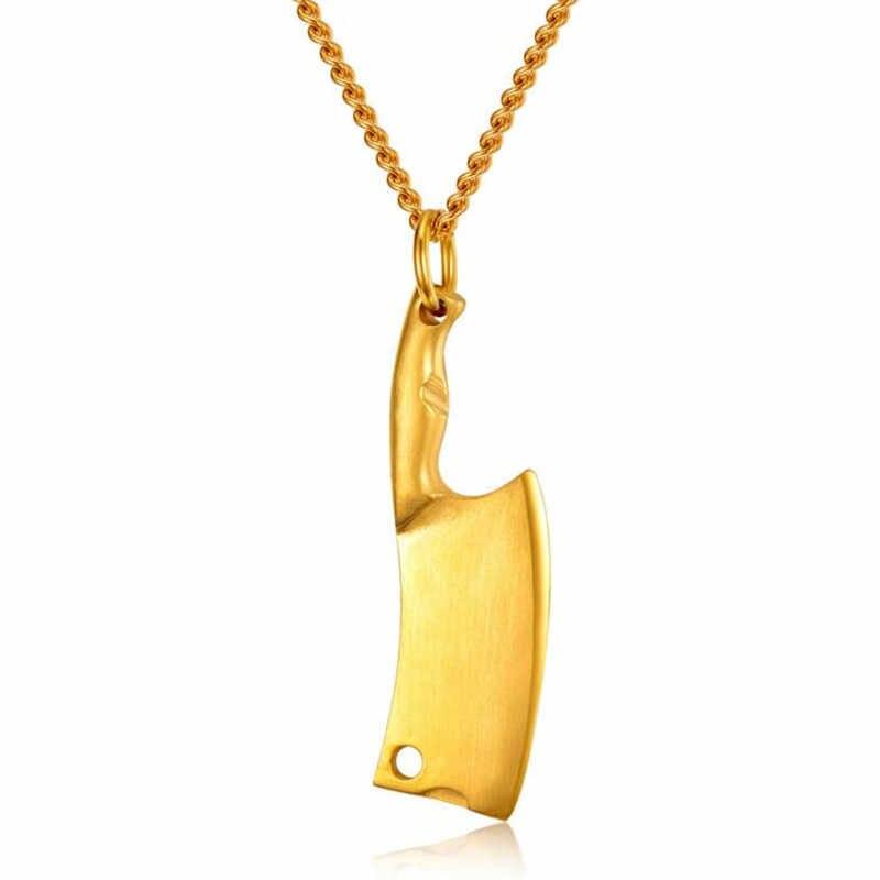Mini ostrze nóż kuchenny szefa kuchni naszyjnik dla kobiet mężczyzn ze stali nierdzewnej Hip Hop biżuteria męska czarna tęcza złoty srebrny Tone