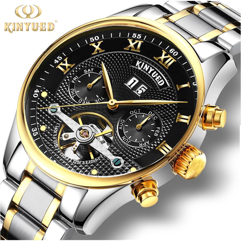 KINYUED Mens Stainless Steel Watch Men Top Brand Luxury Skeketon Automatic Watches Mechanical Waterproof Gold Horloges Mannen cadisen top new mens watches top brand luxury complete calendar 3atm sport watches for men clock stainless steel horloges mannen