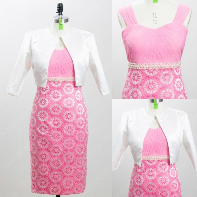 a82bb8c42db Flower Patterns Mother of the Bride Dress with Jacket White Pink Skirt Beautiful  Pretty Mother Dress to Party Vestidos Madrinha