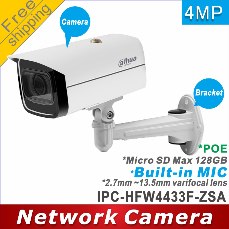 Free shipping Dahua IPC HFW4433F ZSA replace IPC HFW2431T ZS 2.7mm ~13.5mm lens 4MP ip camera POE cctv camera Mic Memory slot-in Surveillance Cameras from Security & Protection