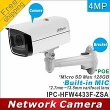 Free shipping Dahua IPC HFW4433F ZSA replace IPC HFW2431T ZS 2.7mm ~13.5mm lens 4MP ip camera POE cctv camera Mic Memory slot