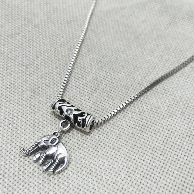 Necklace Rhodium Plated Gothic Cartoon Fox Beads Chain Box Chains Venise Tube Pendant Lobster Clasps Connector Filigree Bijoux