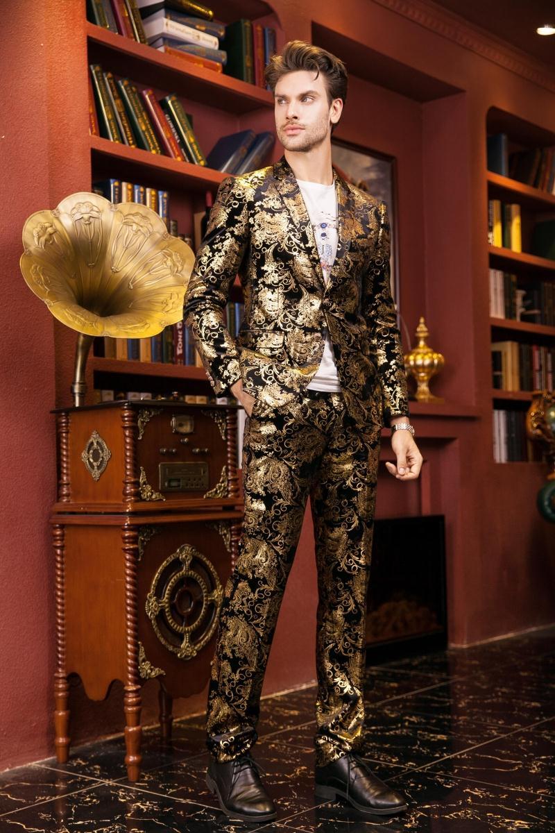 Image 5 - Paisley Wedding Suits Men Brand Design Black Gold Floral Tuxedo  Men Slim Fit Mens Dress Suits Stage Costumes Jacket/Pants Men XLfloral  tuxedotuxedo menbrand tuxedo