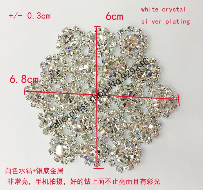 2pc lot delicate small round flower crystal trimmings shiny rhinestone  applique for bridal wedding dress hairdress embellishment-in Rhinestones  from Home ... 6a4d92bbc57b