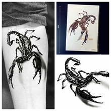 1PC Large 3D Black Metallic Scorpion King Temporay Tattoo Stickers Men Body Art GQS-B013 Scorpions Fake Flash Tattoo Arm Sleeve