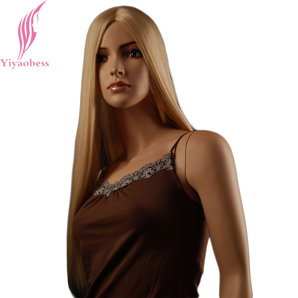 Yiyaobess 65cm Long Straight Wig Synthetic African American Golden Blonde Wigs For White Women
