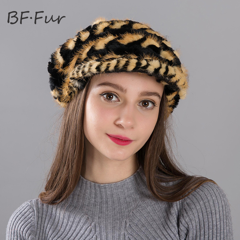 BF.FUR Fur Hats Women's Winter Mink Fur Knitted Casual Fur Hat Free Size For All 6 Colors For Mom Grandmother As Gifts BF-M0002 блэйзер as bf