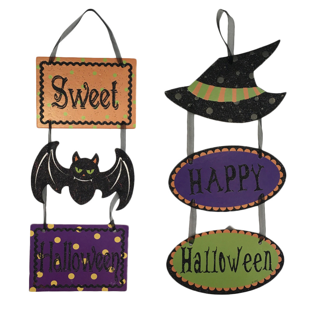 45x18cm Happy Sweet Halloween Hanging Tag Pendant Sign for Bar Shopping Mall Coffee Shop Home Halloween Decoration Supplies