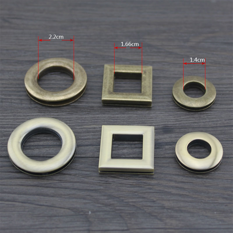 (10 Sets/ Lot) 14mm, 22mm (Inside) DIY Brass Bronze Eyelet Rings Button 16mm (Inside) Square Eyelets Metal Bag Accessories